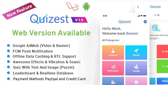 Quizest - Complete Quiz Solutions With Android App And Interactive Admin Panel v1.5 Nulled