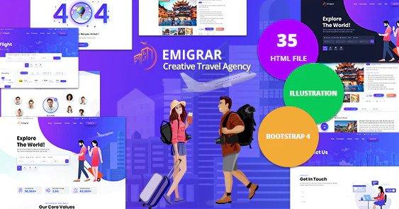 Emigrar - Creative Travel Agency HTML Template Free