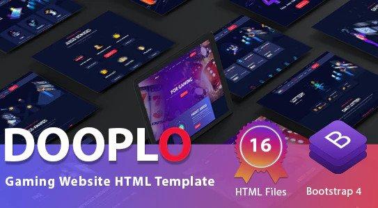 Dooplo - Gaming Website HTML Template Free