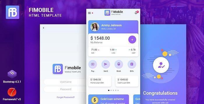 Fimobile Mobile HTML Template Bootstrap 4 Free