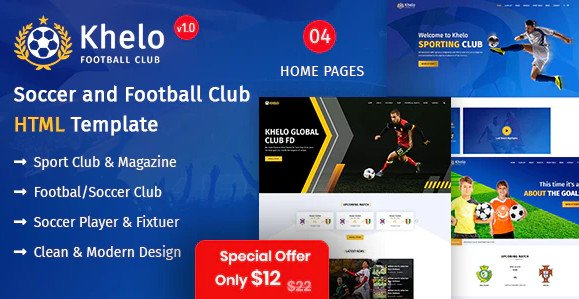 Khelo - Soccer & Football Club Bootstrap 4 HTML Template Nulled