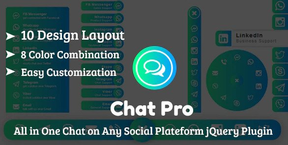 ChatPro - All in One Chat on Any Social Plateform jQuery Plugin Free