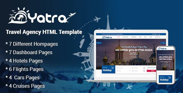Yatra - Travel Agency HTML Template Free
