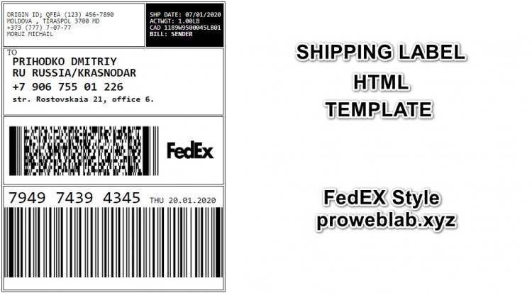 Shipping label FedEx style HTML templates