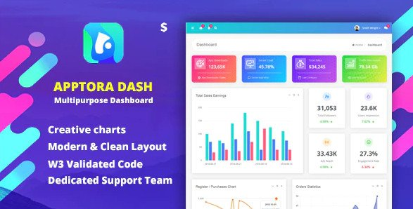 Apptora - Admin Dashboard Template Free