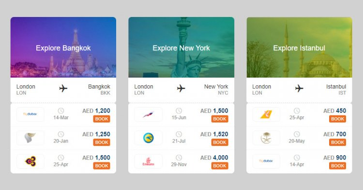 Flight destination bootstrap cards html css