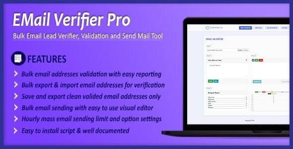 Email Verifier Pro - Bulk Email Addresses Validation, Mail Sender & Email Lead Management Tool Nulled