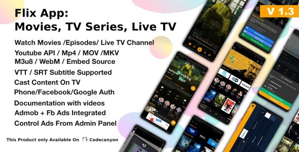 Flix App Movies - TV Series - Live TV Channels - TV Cast Nulled