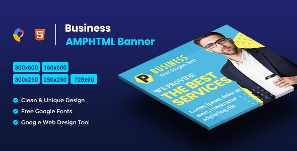 Business AMPHTML Banners Ads Template V04 Free