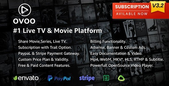OVOO - Live TV & Movie Portal CMS with Membership System v3.2.6 Nulled