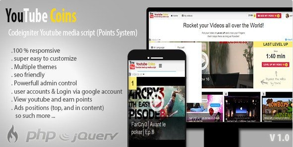 YouTube Coins - (Media Script + Points System) Free