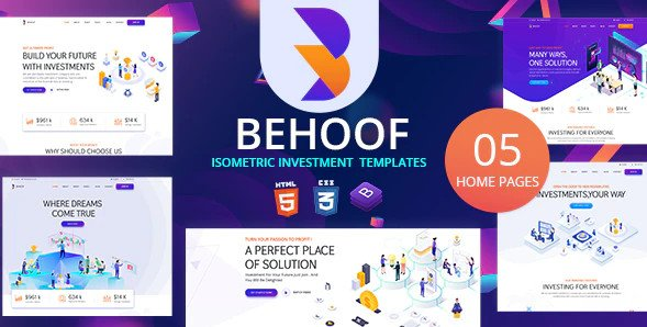 Behoof - Isometric Investment Website HTML Templates