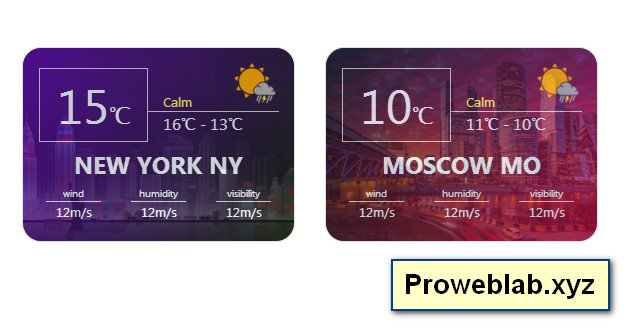 Weather Card block css html example