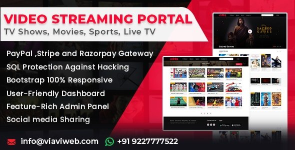 Video Streaming Portal (TV Shows, Movies, Sports, Videos Streaming, Live TV) Nulled