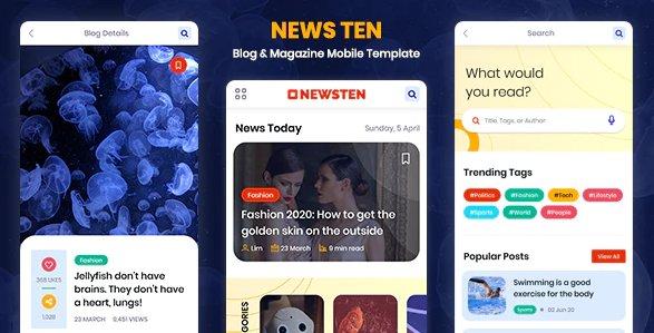 Newsten - Blog & Magazine Mobile HTML Template