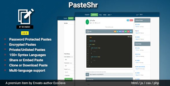 PasteShr - Text Hosting & Sharing Script v2.7 Nulled