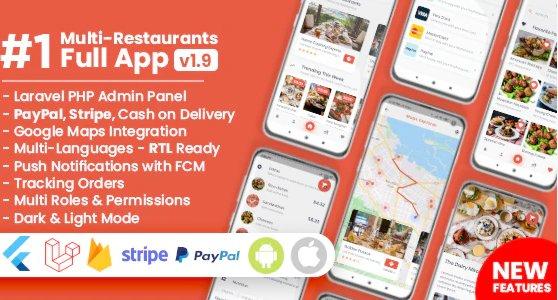 Food Delivery Flutter + PHP Laravel Admin Panel v1.9.4