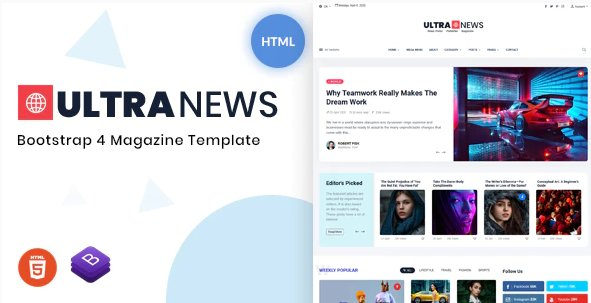 Ultranews - Magazine Bootstrap 4 Template