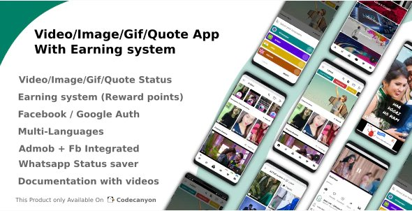 Video/Image/Gif/Quote App With Earning system