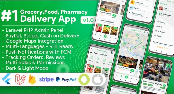 Grocery, Food, Pharmacy, Store Delivery Mobile App with Admin Panel v1.3.0