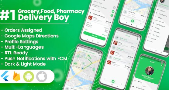 Delivery Boy for Groceries, Foods, Pharmacies, Stores Flutter App v1.0.1