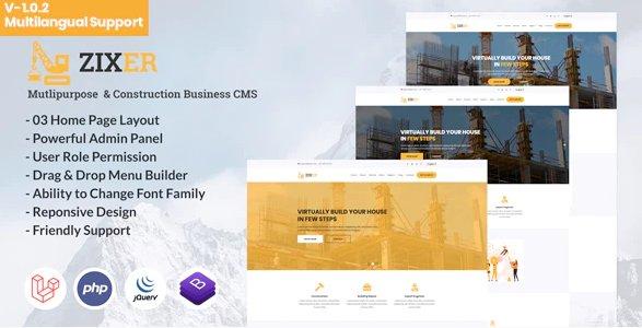 Zixer - Multipurpose Website & Construction Business Company CMS v1.0.2