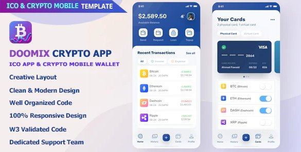 Doomix - ICO App & Crypto Wallet Mobile Template