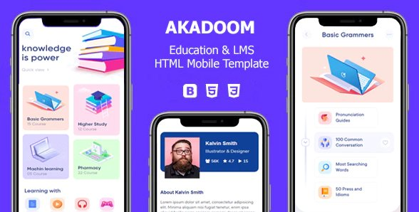 Akadoom - Education & Online Courses Mobile Template