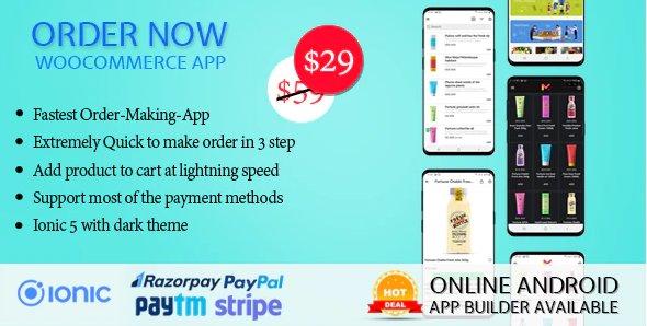 Order Now Mobile app for WooCommerce ionic 5 v1.5