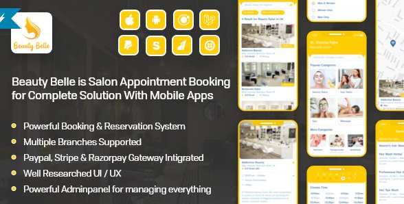 Salon & Spa Appointment Booking App For Android - iOS App with admin panel - Beauty Belle v1.1
