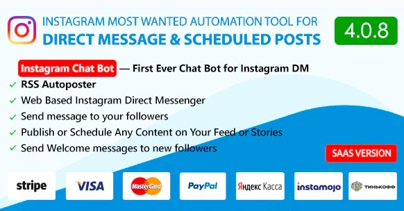 DM Pilot — Instagram Chat Bot, Web Direct Messenger & Scheduled Posts v5.0.0 Nulled