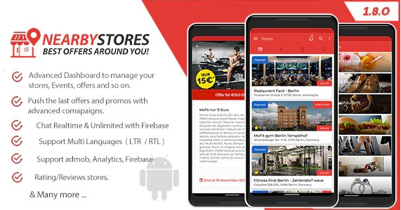 NearbyStores Android - Offers, Events & Chat Realtime + Firebase v1.8