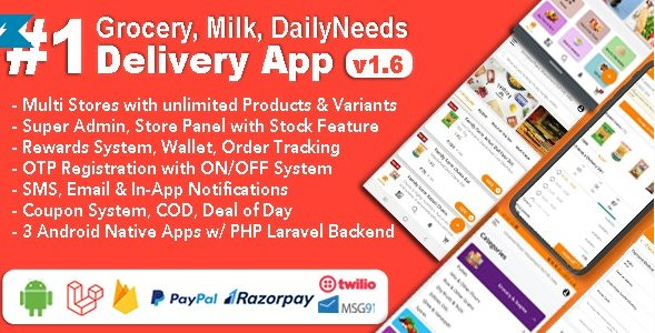 Grocery and Vegetable Delivery Android App with Admin Panel | Multi-Store with 3 Apps v1.6.4