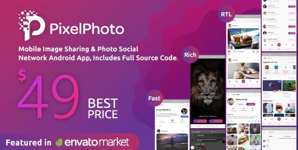 PixelPhoto Android- Mobile Image Sharing & Photo Social Network Application v1.8.3