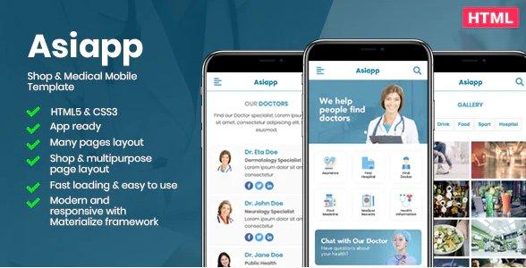 Asiapp - Shop & Medical Mobile HTML Template
