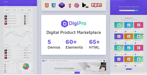 DigiPro - Digital Marketplace HTML Template with Dashboard