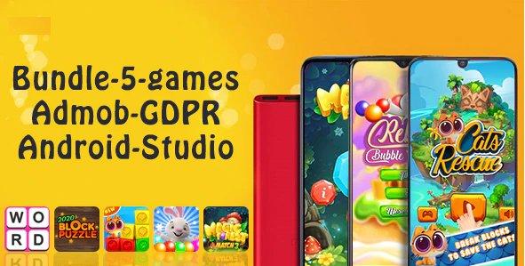 Bundle1 , 5 Games (Admob + GDPR + Android Studio)