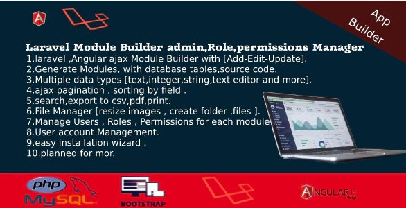 Laravel Admin Builder - Angular CRUD+Users,Roles,Permission +Files Manager v2.2