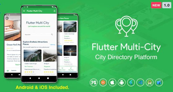 Flutter Multi City v1.0 Directory, City Tour Guide, Business Directory, Travel Guide, Booking