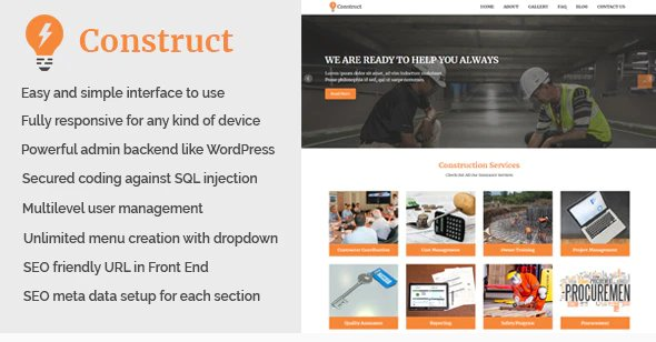 Construct - Building and Construction Website CMS v1.1 Nulled