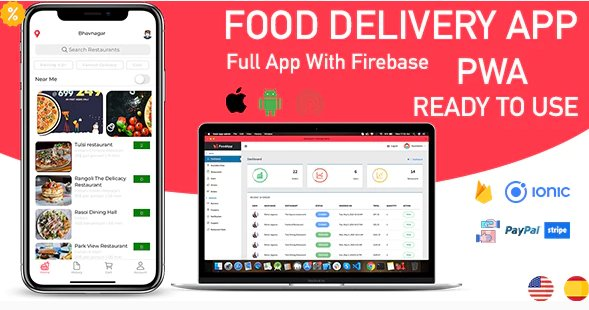 Food delivery app (Android + iOS + Admin Panel PWA)