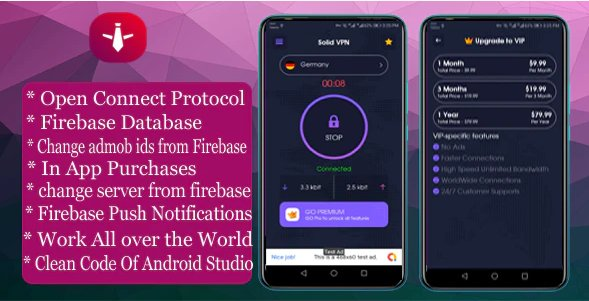 Solid VPN With Firebase Database And OPEN CONNECT PROTOCOL v1.0.0
