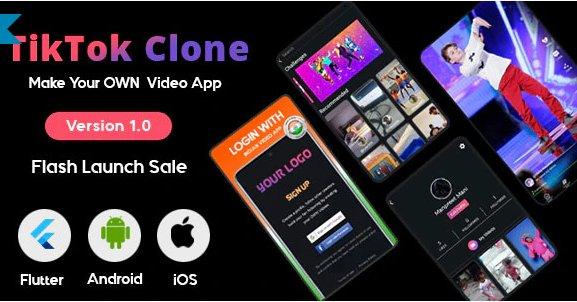 Flutter - TikTok | Triller Clone & Short Video Streaming Mobile App for Android & iOS v1.0