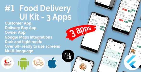 Food Delivery UI Kit in Flutter - 3 Apps - Customer App + Delivery App + Owner App v1.0.0