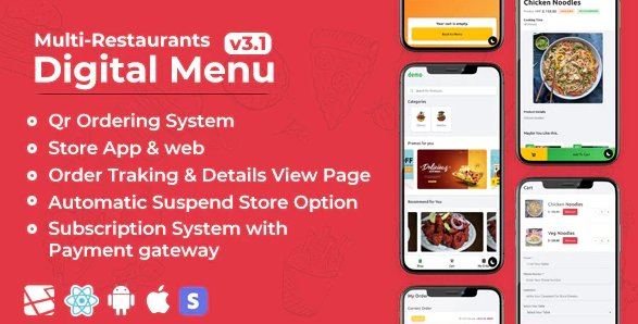 Chef - Multi-restaurant Saas - Contact less Digital Menu Admin Panel with - React Native App v4.0