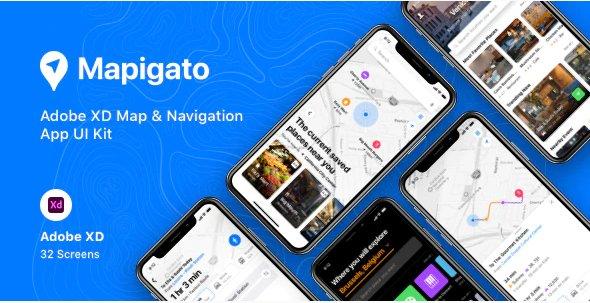 Mapigato - Adobe XD Map & Navigation App UI Kit