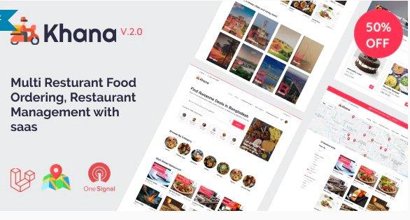 Khana - Multi Resturant Food Ordering, Restaurant Management With Saas v3.0.2 Nulled
