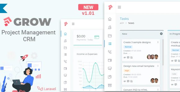 Grow - Project Management CRM With Invoicing Estimates Leads And Tasks v1.02