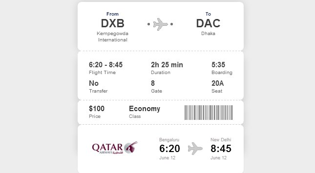 HTML boarding ticket, informer, widget CSS design.