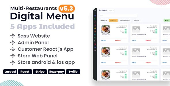 Chef - Multi-restaurant Saas - Contact less Digital Menu Admin Panel with - React Native App v5.3